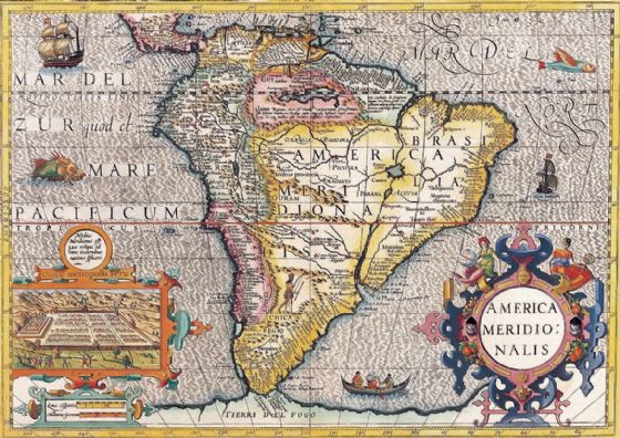 Hondius, Henricus: Map of the Americas. Antique/Vintage 17th Century Map. Fine Art Print/Poster. Sizes: A4/A3/A2/A1 (003900)